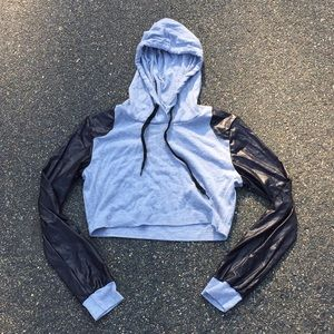Tops - Cropped Hoodie with Faux Leather Arms
